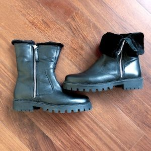 ZARA Black Leather Ankle Boots Zippers 36 6